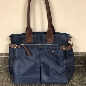 Avon navy blue & brown organizer tote purse